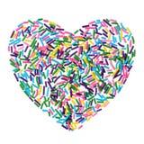 Цветастая конфета брызгает сердце изолированное на белизне Стоковое фото RF