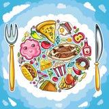 цветастая милая планета еды иллюстрация вектора