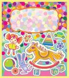 Цветастая поздравительная открытка с игрушками детей Стоковые Фотографии RF