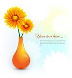 Цветастая предпосылка с померанцовыми цветками Стоковые Фото