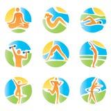 Цветастая пригодность йоги значков Стоковое фото RF