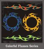 цветастая серия пламен иллюстрация вектора