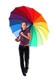 цветастая сь женщина зонтика Стоковое Фото