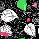 цветастая флористическая картина безшовная Предпосылка шнурка с цветками Текстура ornamental фантазии Стоковые Фотографии RF