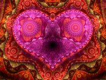 цветастое детальное сердце фрактали Стоковое Фото