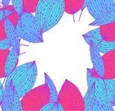 Цветастое знамя с листьями. Винтажный шаблон Стоковые Фото