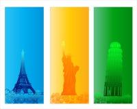Цветастое известное знамя города Стоковое Изображение