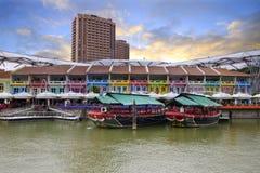 цветастое историческое река домов Стоковое фото RF