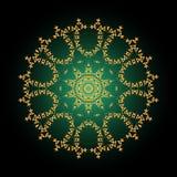 цветастое мандала цветок золотистый декоративный орнамент круглый антропологического иллюстрация штока