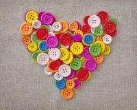 Цветастое сердце кнопок Стоковое Фото