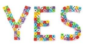 цветасто dices сделанный знак да стоковые изображения