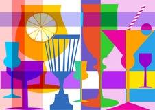 цветастые выпивая стекла бесплатная иллюстрация