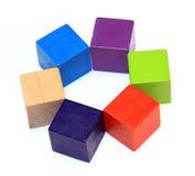 Цветастые деревянные кубики стоковое фото rf
