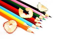 цветастые изолированные карандаши стоковая фотография