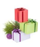 Цветастые коробки подарка рождества Стоковое фото RF