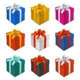 Цветастые коробки подарка иллюстрация штока