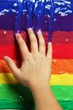 цветастые краски руки стоковое изображение