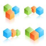 цветастые кубики Стоковые Изображения