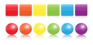 цветастые лоснистые иконы Стоковые Фотографии RF