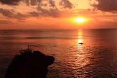Очистьте небо и заход солнца Стоковое фото RF