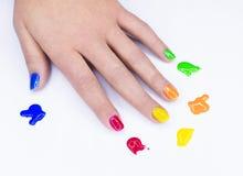 Цветастые ногти стоковое фото rf