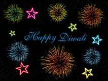 цветастые обои феиэрверков deepawali принципиальной схемы Стоковые Фото