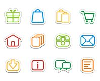 Цветастые онлайн стикеры магазина - значки Стоковое Изображение RF