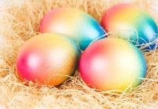 цветастые пасхальные яйца hay некоторое Стоковые Фотографии RF