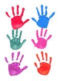 цветастые печати рук иллюстрация штока