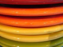 Цветастые плиты обеда   Стоковые Изображения