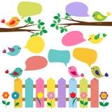Цветастые птицы с пузырями для речи Стоковые Фото