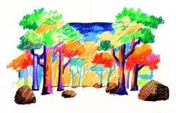 Цветастые древесины иллюстрация штока