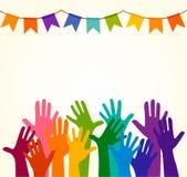 цветастые руки вверх Vector иллюстрация, celation associers, единство, партнеры, компания, приятельство, предпосылка Volunteebr д иллюстрация штока