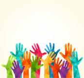 цветастые руки вверх Vector иллюстрация, celation associers, единство, партнеры, компания, приятельство, предпосылка Volunteebr д бесплатная иллюстрация