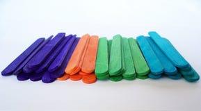 Цветастые ручки Popsicle Стоковая Фотография