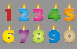Цветастые свечи номера (0-9) Стоковые Фото