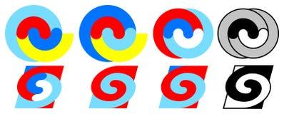 Цветастые спирали 1 до 8 Стоковые Фотографии RF
