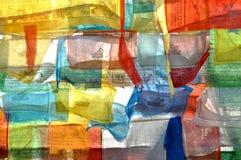 Цветастые тибетские флаги молитве Стоковые Изображения RF