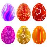 цветастые установленные пасхальные яйца Стоковые Фото