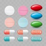цветастые установленные пилюльки Группа в составе цвета реалистический фармацевтический d Стоковые Фотографии RF