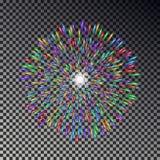 Цветастые феиэрверки на небе Изолированный вектор фейерверка Стоковое Изображение RF