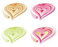 Цветастые формы сердца   иллюстрация вектора