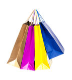 Цветастые хозяйственные сумки в рядке стоковое изображение rf