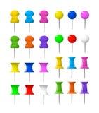 цветастые штыри нажимают канцелярские принадлежности pushpins Стоковая Фотография RF