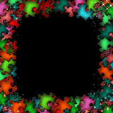 цветастые элементы обрамляют головоломку Стоковые Изображения