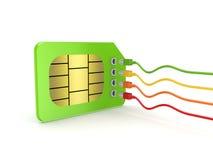 Цветастые patchcords соединенные к карточке SIM. Стоковое Изображение RF