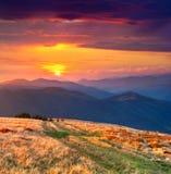 Цветастый ландшафт осени в горах Стоковая Фотография