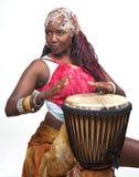 цветастый барабанщик djembe Стоковое Изображение RF