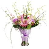 Цветастый букет цветка в вазе изолированной на белой предпосылке. Стоковая Фотография