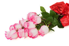Цветастый букет цветка от роз изолированных на белом backgroun Стоковые Фотографии RF